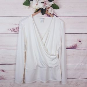 Soft Surroundings   White Wrapped Front Blouse